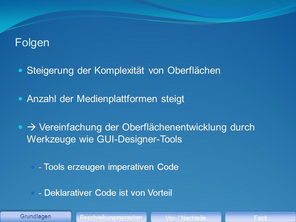Folgen Steigerung der Komplexität von Oberflächen Anzahl der Medienplattformen steigt  Vereinfachung der Oberflächenentwicklung durch Werkzeuge wie GUI-Designer-Tools - Tools erzeugen imperativen Code - Deklarativer Code ist von Vorteil Grundlagen Beschreibungssprachen Vor- / NachteileFazit