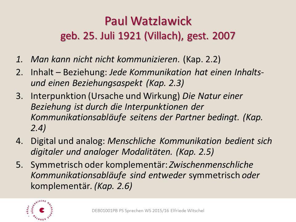 Paul Watzlawick geb. 25. Juli 1921 (Villach), gest.