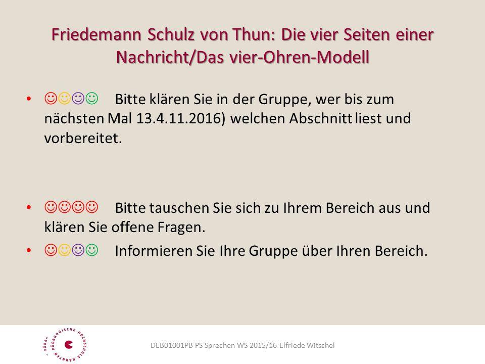 Friedemann Schulz von Thun: Die vier Seiten einer Nachricht/Das vier-Ohren-Modell  Bitte klären Sie in der Gruppe, wer bis zum nächsten Mal 13.4.11.2016) welchen Abschnitt liest und vorbereitet.