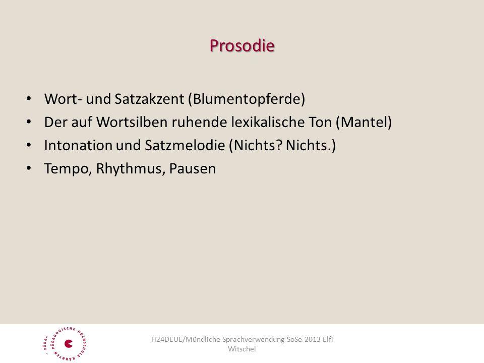 Prosodie Wort- und Satzakzent (Blumentopferde) Der auf Wortsilben ruhende lexikalische Ton (Mantel) Intonation und Satzmelodie (Nichts.