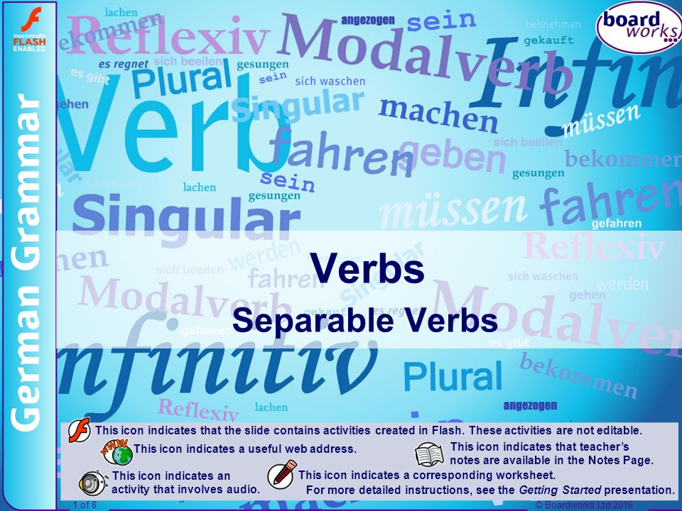 © Boardworks Ltd 20162 of 8 Inhalt Separable Verbs What separable verbs are How to use separable verbs in the present tense Verbs with inseparable prefixes Using separable verbs in the perfect tense © Boardworks Ltd 20162 of 8