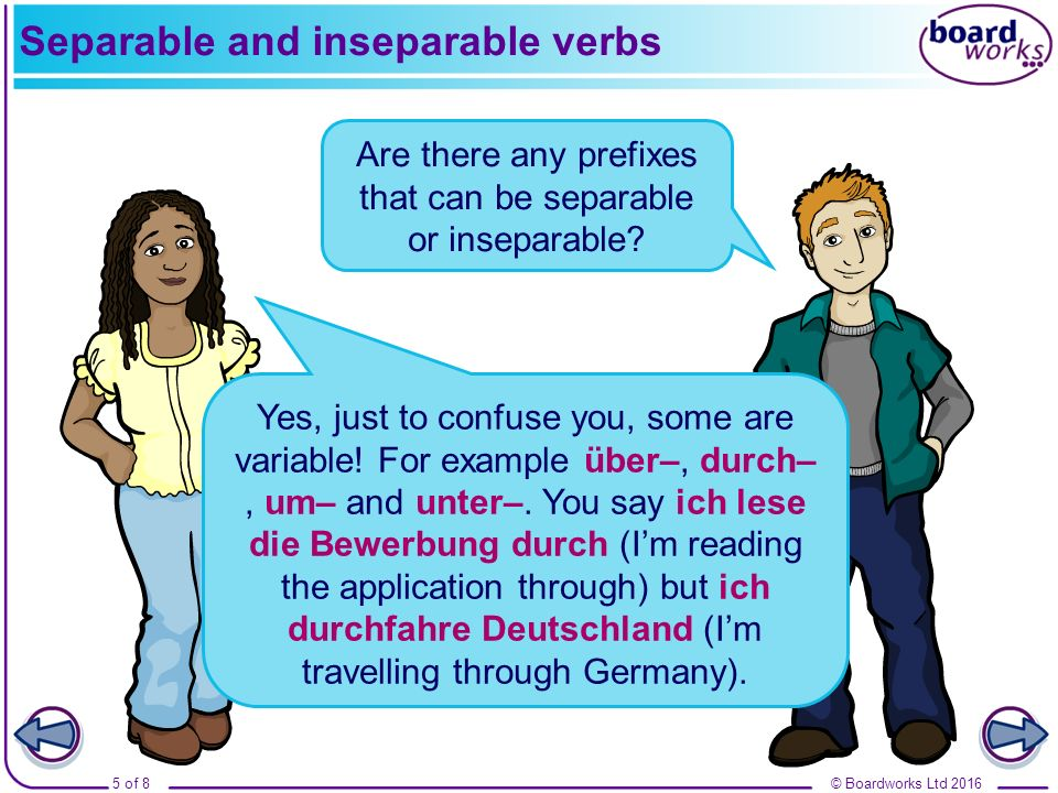 © Boardworks Ltd 20165 of 8 Separable and inseparable verbs Are there any prefixes that can be separable or inseparable? Yes, just to confuse you, som