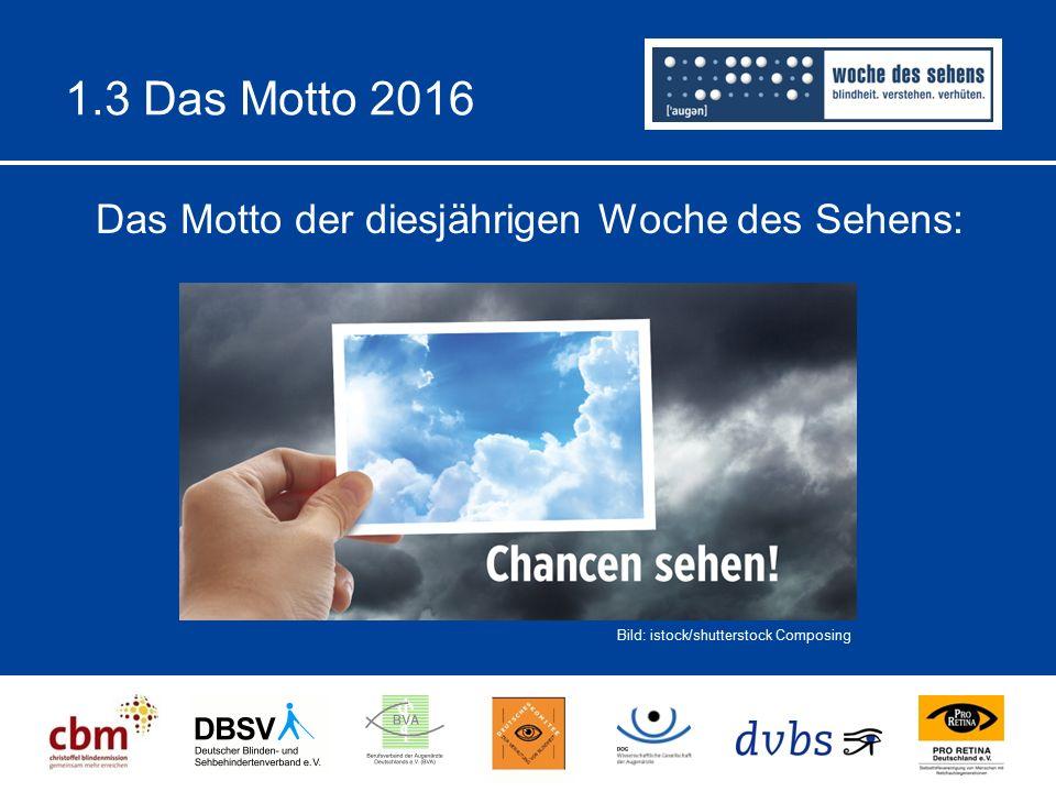 1.3 Das Motto 2016 Das Motto der diesjährigen Woche des Sehens: Bild: istock/shutterstock Composing
