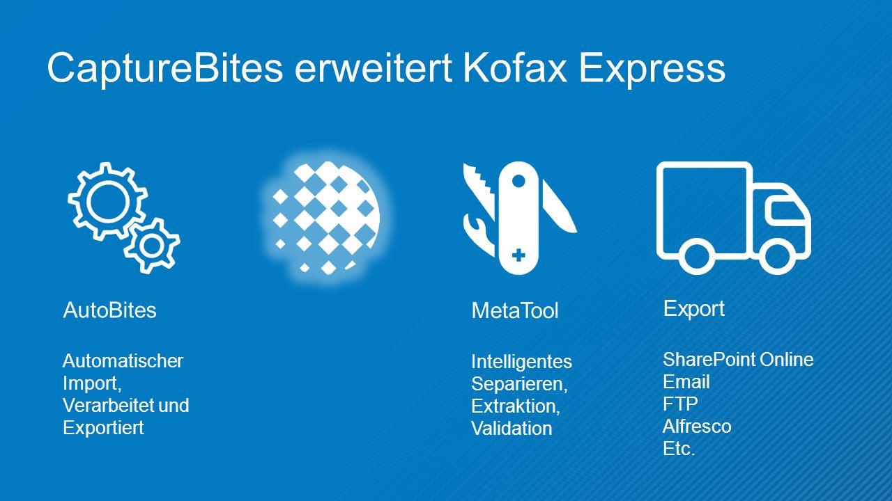 CaptureBites erweitert Kofax Express AutoBites Automatischer Import, Verarbeitet und Exportiert MetaTool Intelligentes Separieren, Extraktion, Validation Export SharePoint Online Email FTP Alfresco Etc.