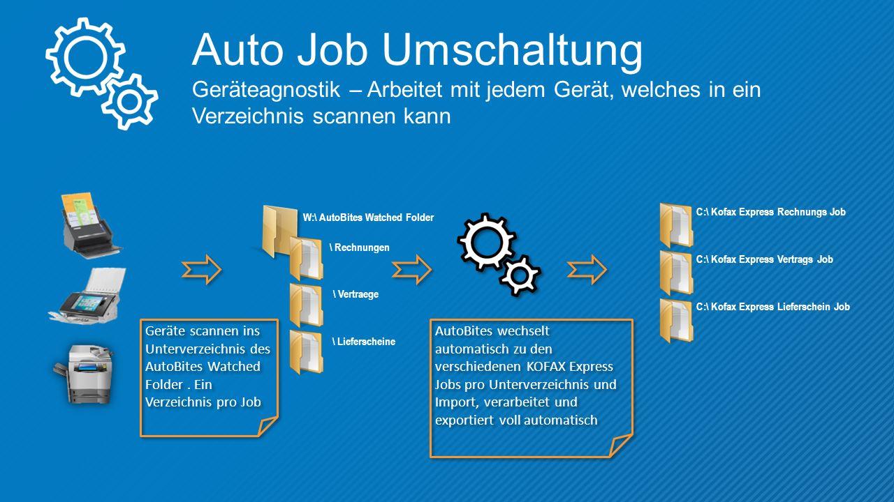 Auto Job Umschaltung Geräteagnostik – Arbeitet mit jedem Gerät, welches in ein Verzeichnis scannen kann Geräte scannen ins Unterverzeichnis des AutoBites Watched Folder.