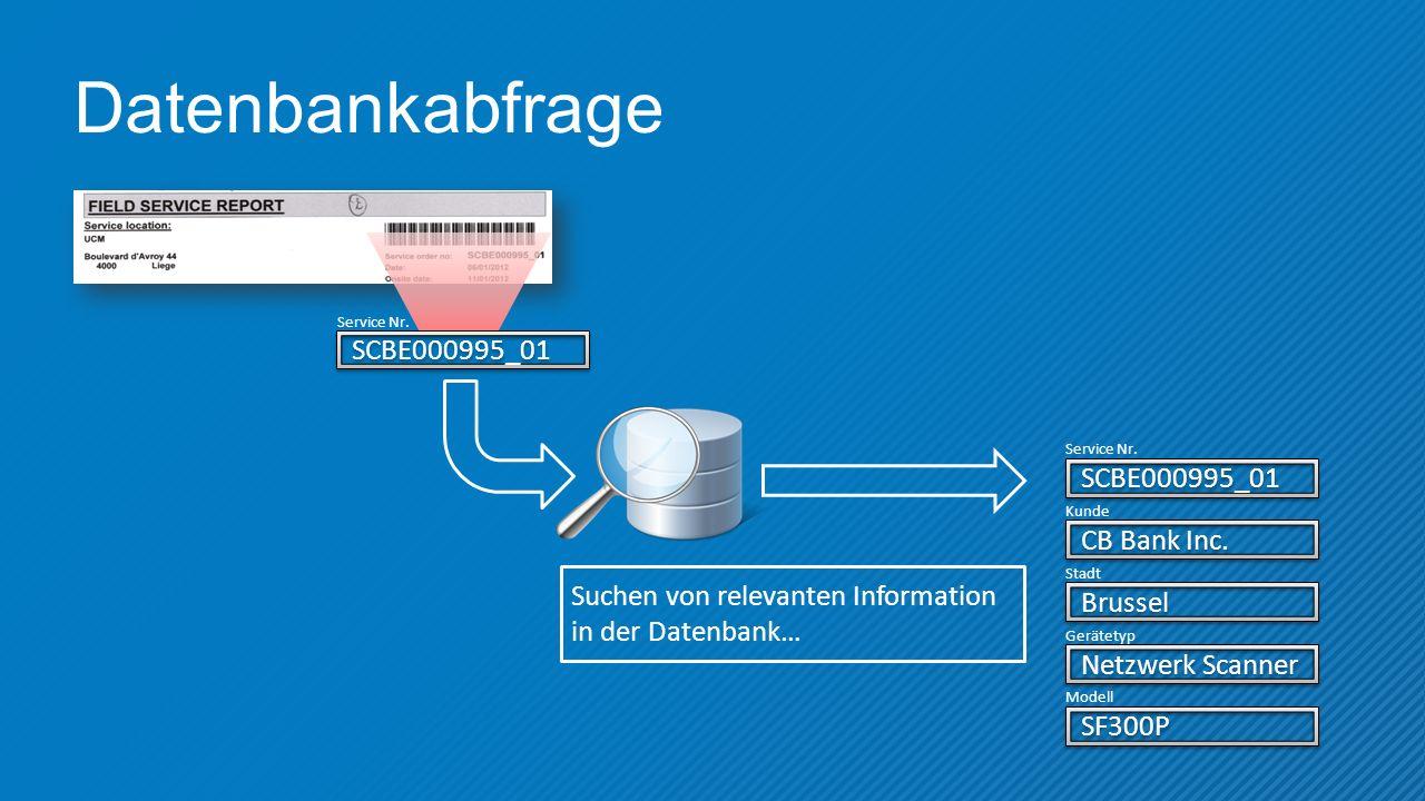 Datenbankabfrage SCBE000995_01 Service Nr.