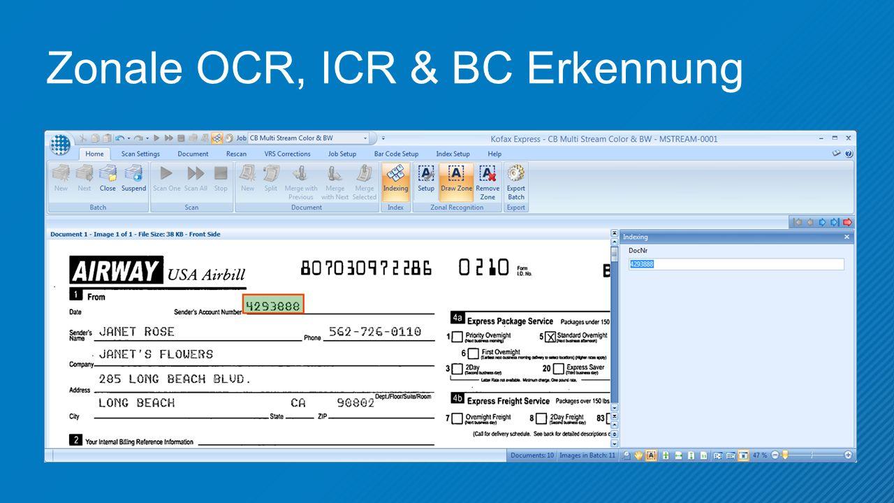 Zonale OCR, ICR & BC Erkennung