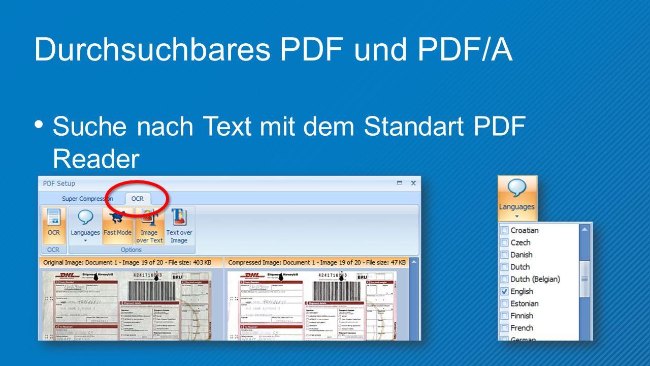 Durchsuchbares PDF und PDF/A Suche nach Text mit dem Standart PDF Reader