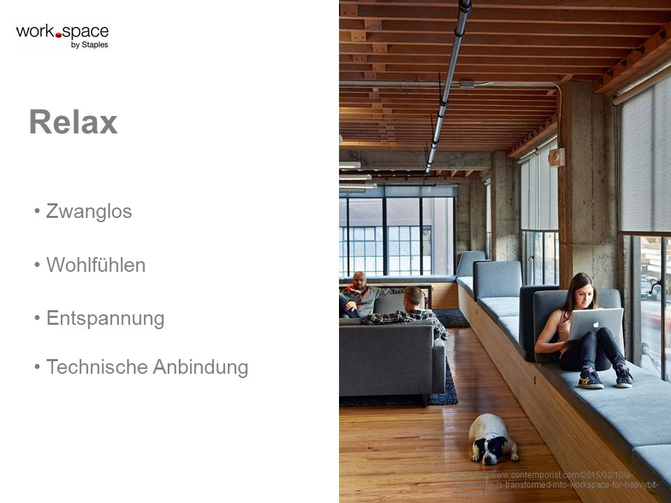 Zwanglos Wohlfühlen Relax Entspannung Technische Anbindung Bild:   warehouse-is-transformed-into-workspace-for-heavybit- industries/