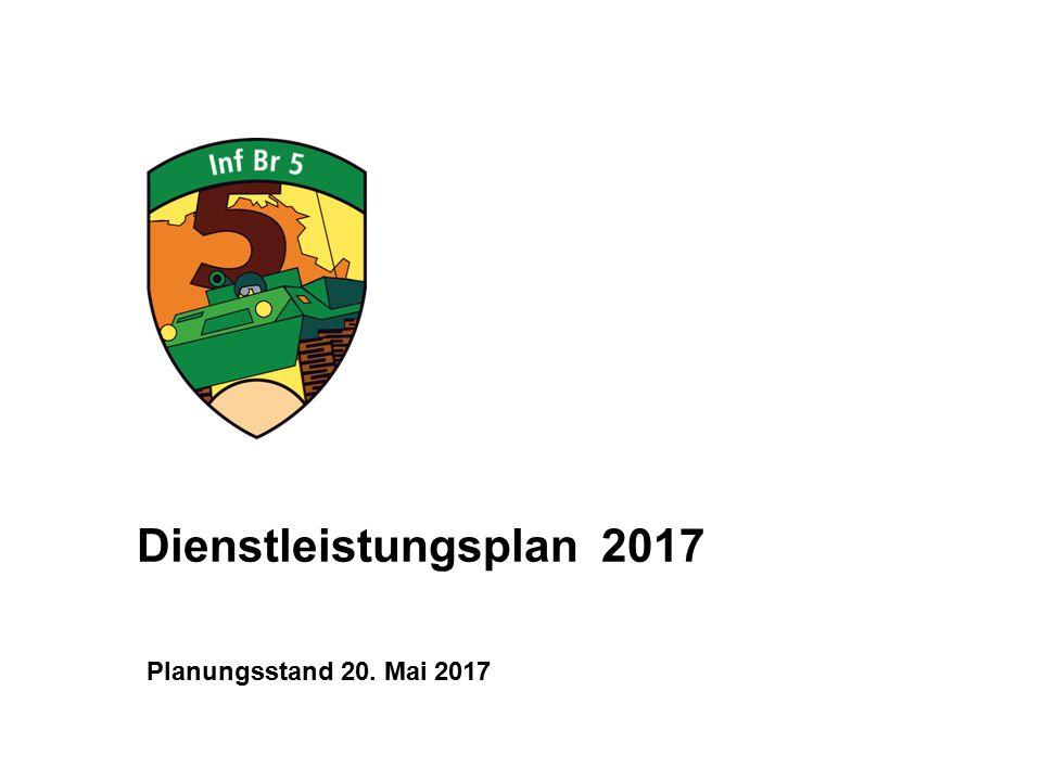 Planungsstand 20. Mai 2017 Dienstleistungsplan 2017