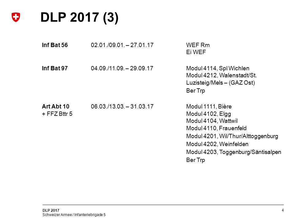 4 DLP 2017 Schweizer Armee / Infanteriebrigade 5 DLP 2017 (3) Inf Bat 5602.01./09.01. – 27.01.17WEF Rm Ei WEF Inf Bat 9704.09./11.09. – 29.09.17Modul