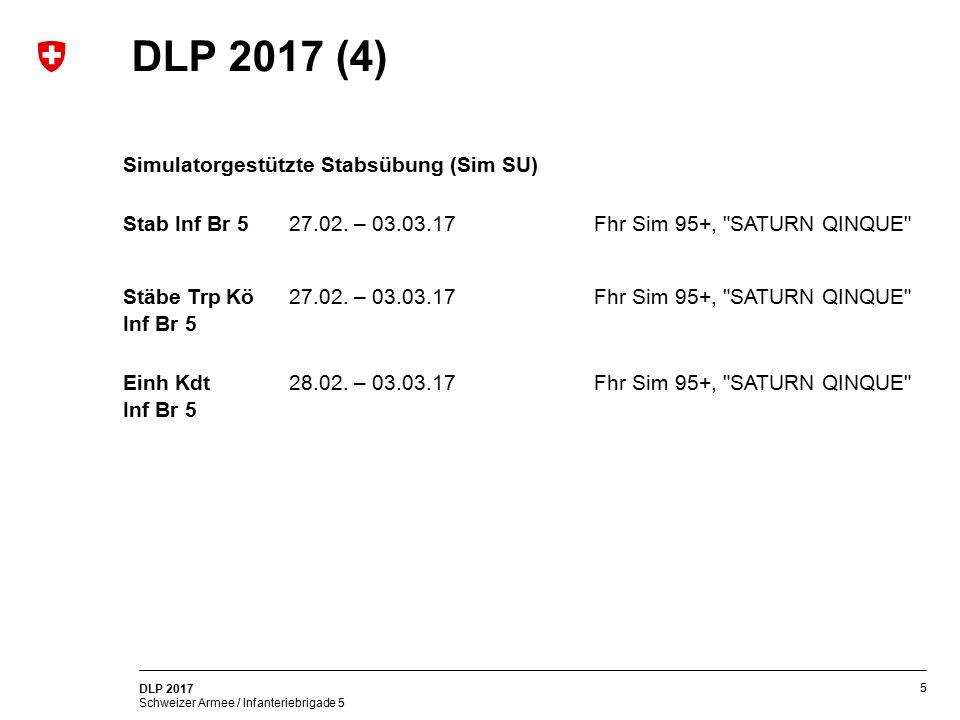 5 DLP 2017 Schweizer Armee / Infanteriebrigade 5 DLP 2017 (4) Simulatorgestützte Stabsübung (Sim SU) Stab Inf Br 5 27.02. – 03.03.17Fhr Sim 95+,
