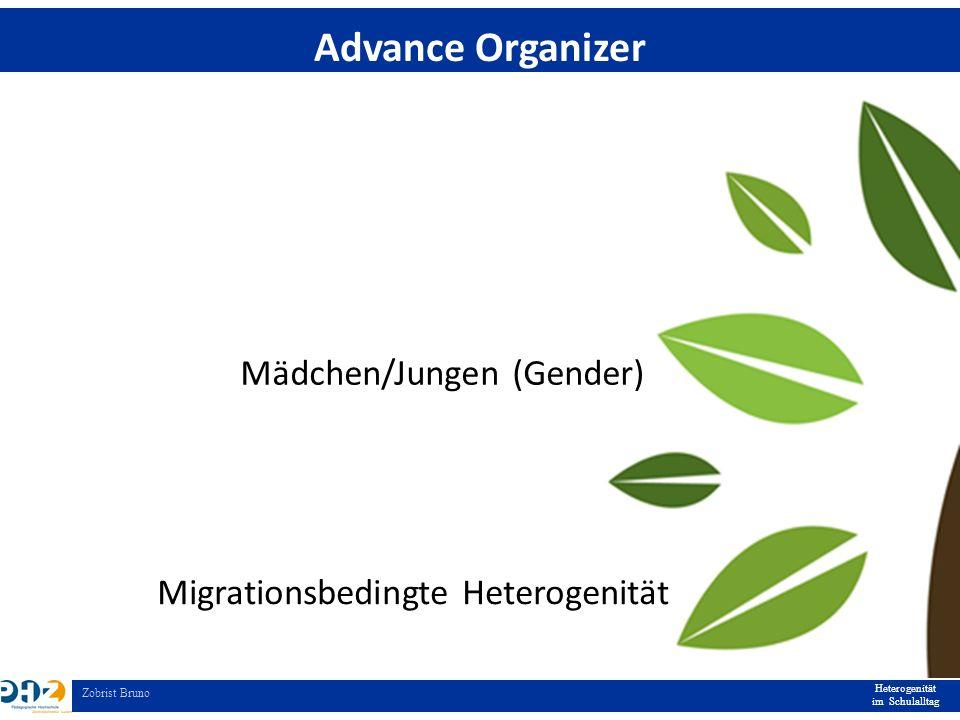 Heterogenität im Schulalltag Zobrist Bruno Advance Organizer Mädchen/Jungen (Gender) Migrationsbedingte Heterogenität