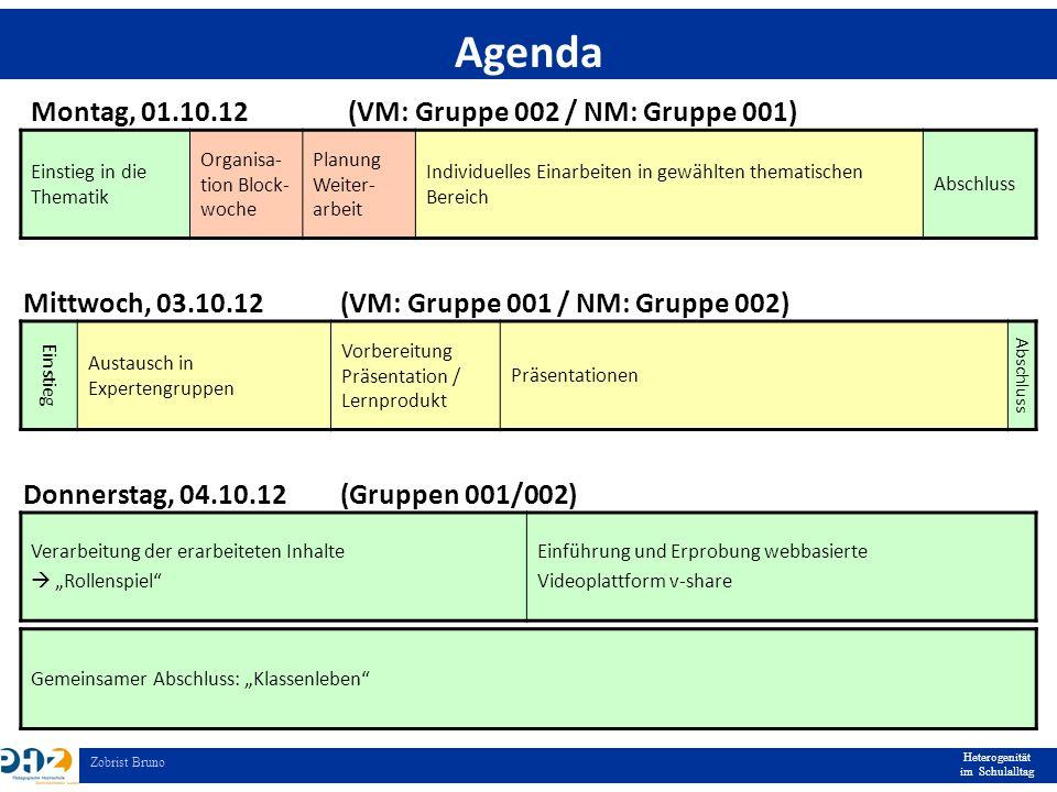 Heterogenität im Schulalltag Zobrist Bruno Einstieg in die Thematik Organisa- tion Block- woche Planung Weiter- arbeit Individuelles Einarbeiten in ge