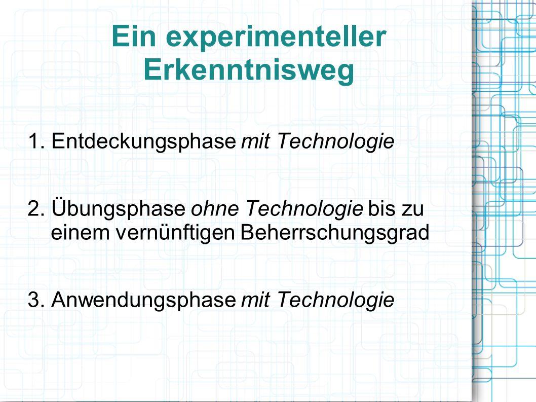 Ein experimenteller Erkenntnisweg 1. Entdeckungsphase mit Technologie 2.