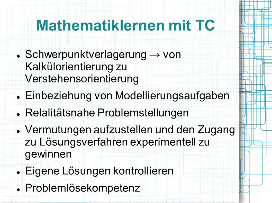 Mathematiklernen mit TC Schwerpunktverlagerung → von Kalkülorientierung zu Verstehensorientierung Einbeziehung von Modellierungsaufgaben Relalitätsnahe Problemstellungen Vermutungen aufzustellen und den Zugang zu Lösungsverfahren experimentell zu gewinnen Eigene Lösungen kontrollieren Problemlösekompetenz
