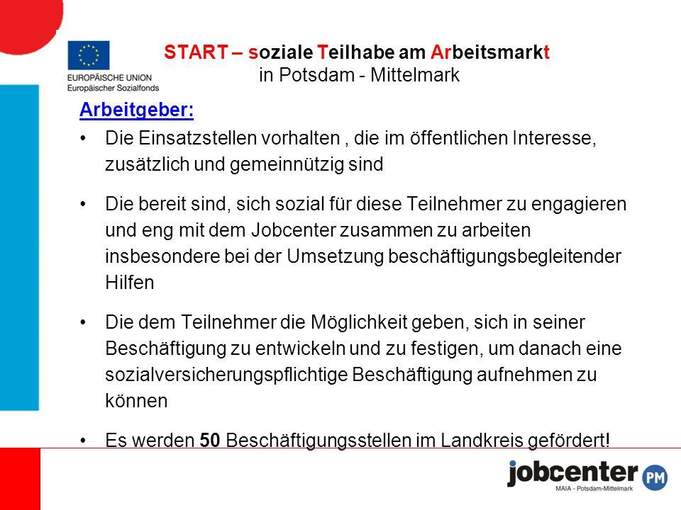 Förderung der Arbeitgeber: Arbeitgeber-Bruttogehalt + AG-Anteile (keine Beiträge an die Alo-Versicherung) bei Einhaltung des Mindestlohnes von 8,50 €/h – Zuschuss erfolgt mit Zuwendungsbescheid durch das Jobcenter Beschäftigung bis zu 20 bzw.