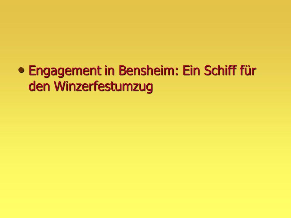 Engagement in Bensheim: Ein Schiff für den Winzerfestumzug Engagement in Bensheim: Ein Schiff für den Winzerfestumzug
