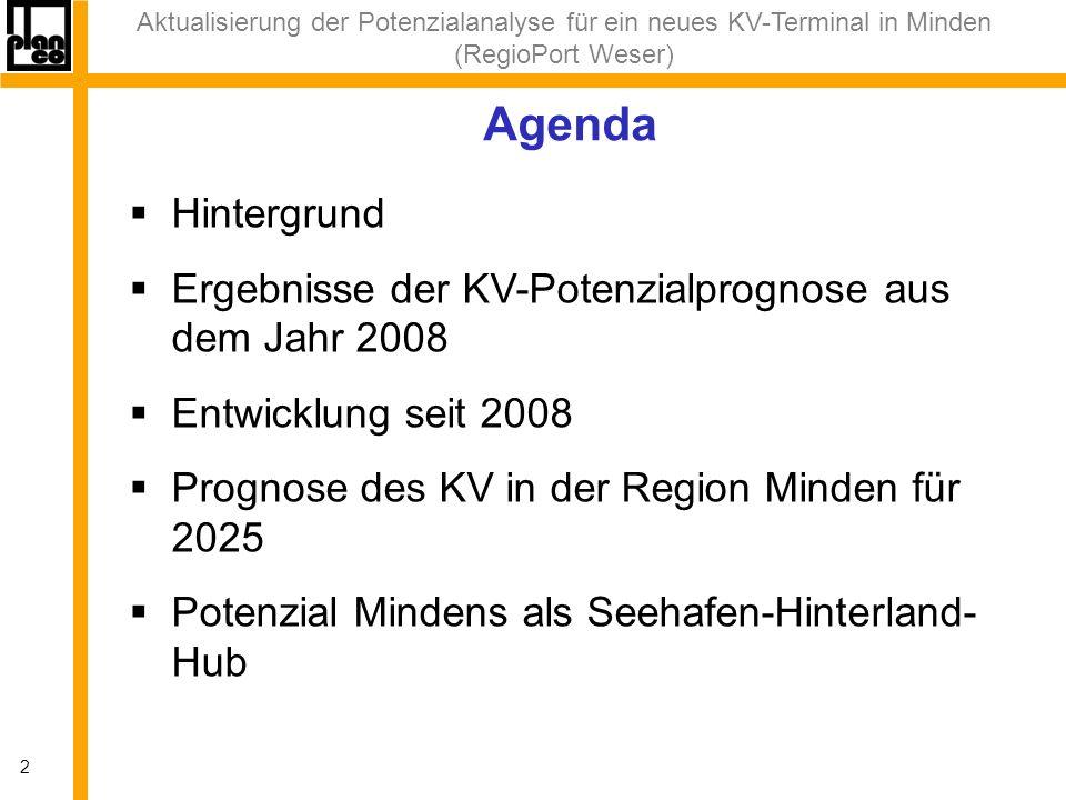 Aktualisierung der Potenzialanalyse für ein neues KV-Terminal in Minden (RegioPort Weser) 3 Hintergrund Planung RegioPort Bestehendes Containerterminal erreicht absehbar Kapazitätsgrenze und kann nicht von größeren Schiffen (GMS/ÜGMS) angelaufen werden PLANCO-Prognose aus 2008 zeigt Potenzial Zwischenzeitlicher Einbruch (Wirtschaftskrise)