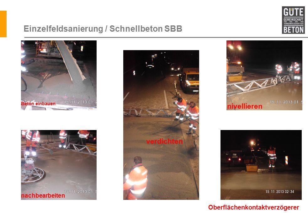 Einzelfeldsanierung / Schnellbeton SBB Beton einbauen verdichten nivellieren nachbearbeiten Oberflächenkontaktverzögerer