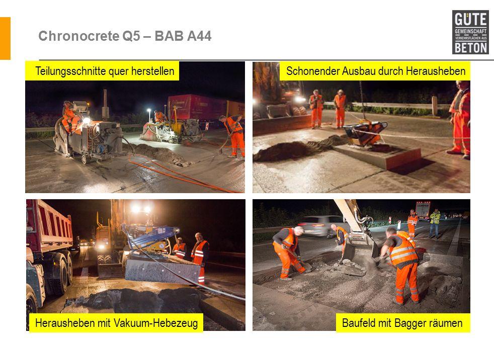 Chronocrete Q5 – BAB A44 Teilungsschnitte quer herstellen Schonender Ausbau durch Herausheben Herausheben mit Vakuum-HebezeugBaufeld mit Bagger räumen