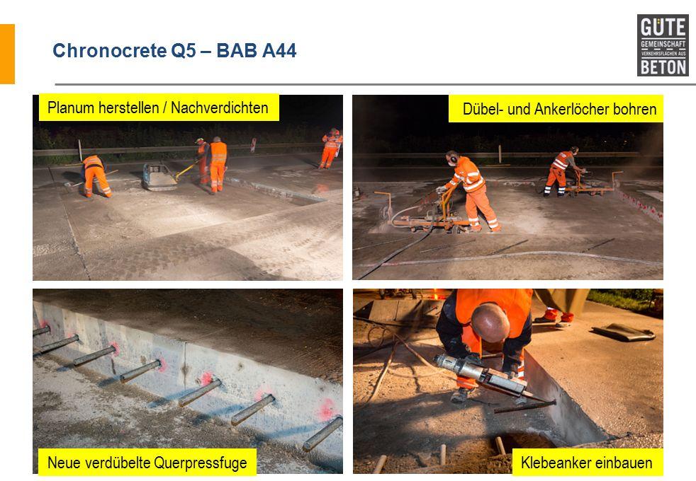 Chronocrete Q5 – BAB A44 Planum herstellen / Nachverdichten Neue verdübelte Querpressfuge Dübel- und Ankerlöcher bohren Klebeanker einbauen