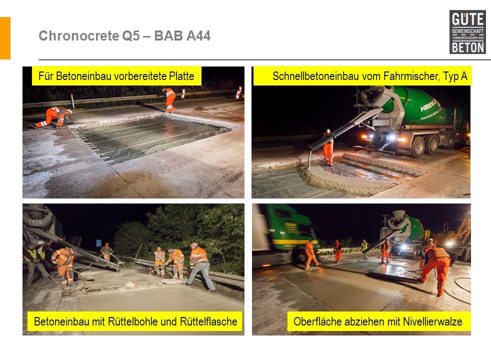 Chronocrete Q5 – BAB A44 Für Betoneinbau vorbereitete Platte Schnellbetoneinbau vom Fahrmischer, Typ A Oberfläche abziehen mit NivellierwalzeBetoneinbau mit Rüttelbohle und Rüttelflasche
