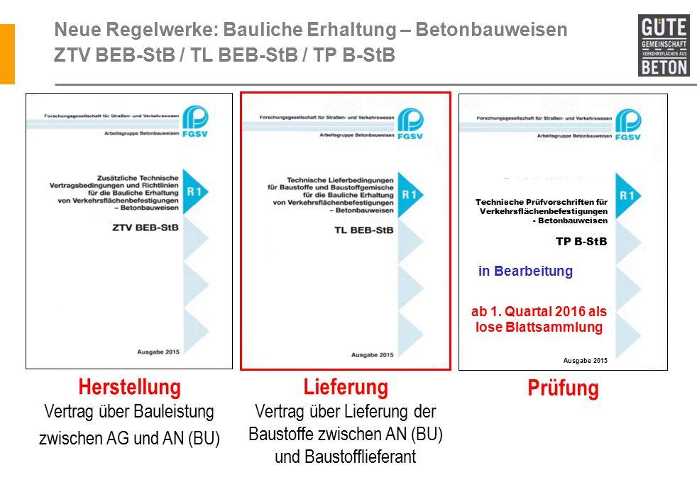 Herstellung Vertrag über Bauleistung zwischen AG und AN (BU) derzeit in Bearbeitung Neue Regelwerke: Bauliche Erhaltung – Betonbauweisen ZTV BEB-StB / TL BEB-StB / TP B-StB Technische Prüfvorschriften für Verkehrsflächenbefestigungen - Betonbauweisen TP B-StB ab 1.