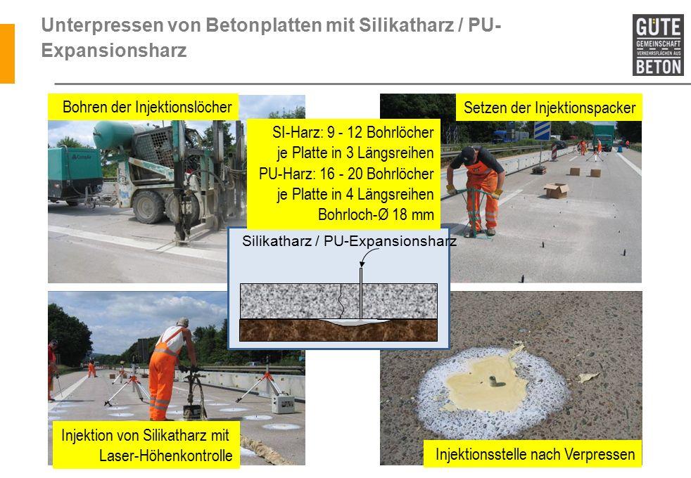Unterpressen von Betonplatten mit Silikatharz / PU- Expansionsharz Bohren der Injektionslöcher Setzen der Injektionspacker Injektion von Silikatharz mit Laser-Höhenkontrolle Silikatharz / PU-Expansionsharz Injektionsstelle nach Verpressen SI-Harz: 9 - 12 Bohrlöcher je Platte in 3 Längsreihen PU-Harz: 16 - 20 Bohrlöcher je Platte in 4 Längsreihen Bohrloch-Ø 18 mm