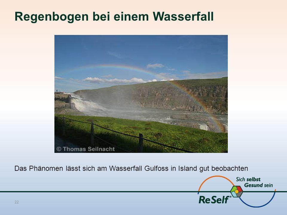 Regenbogen bei einem Wasserfall Das Phänomen lässt sich am Wasserfall Gulfoss in Island gut beobachten 22