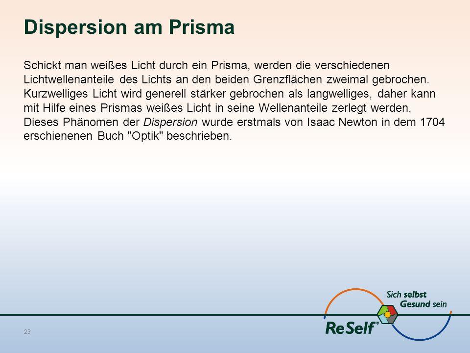 Dispersion am Prisma Schickt man weißes Licht durch ein Prisma, werden die verschiedenen Lichtwellenanteile des Lichts an den beiden Grenzflächen zwei