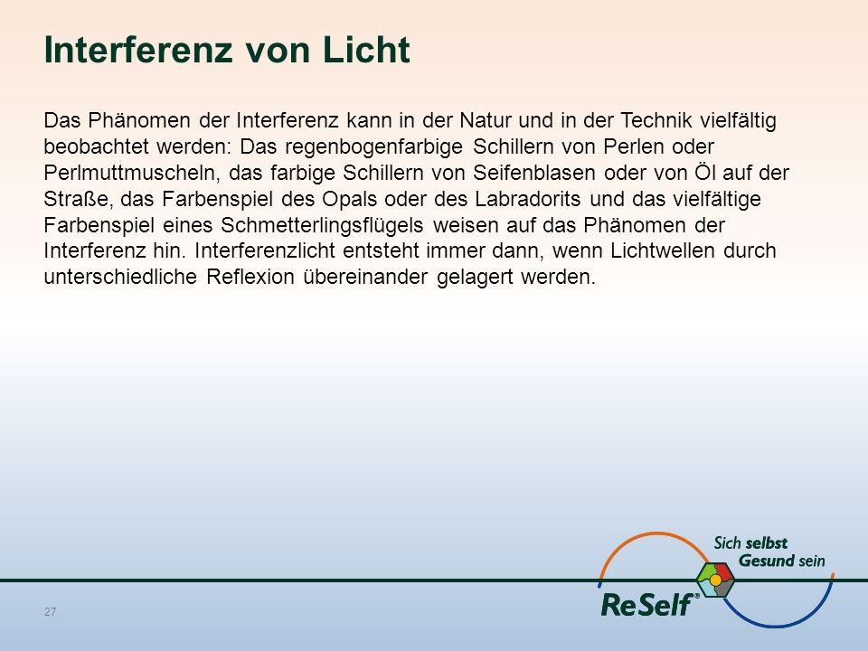 Interferenz von Licht Das Phänomen der Interferenz kann in der Natur und in der Technik vielfältig beobachtet werden: Das regenbogenfarbige Schillern