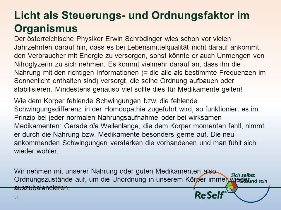 Licht als Steuerungs- und Ordnungsfaktor im Organismus Der österreichische Physiker Erwin Schrödinger wies schon vor vielen Jahrzehnten darauf hin, da