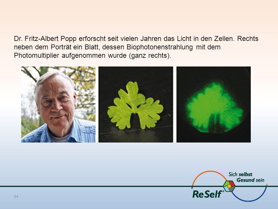 Dr. Fritz-Albert Popp erforscht seit vielen Jahren das Licht in den Zellen. Rechts neben dem Porträt ein Blatt, dessen Biophotonenstrahlung mit dem Ph