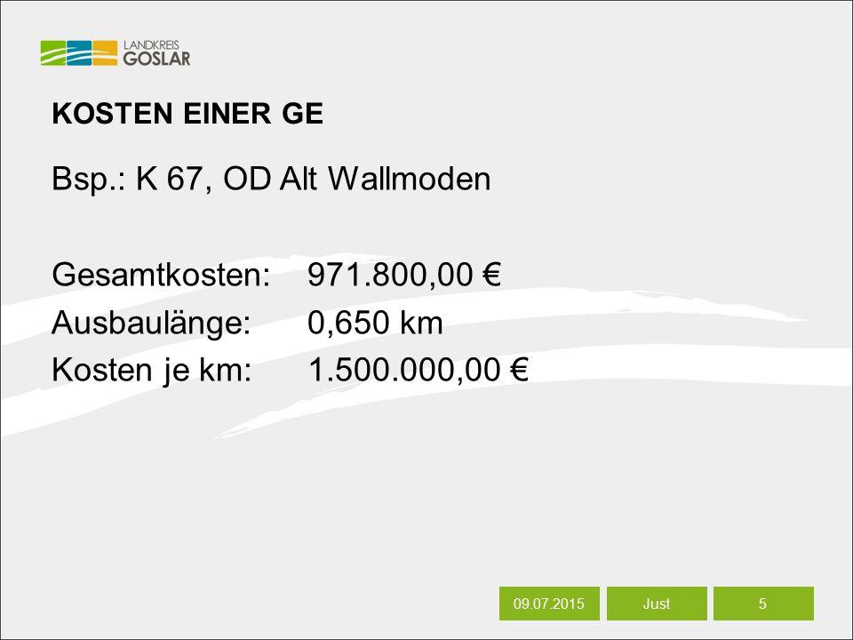 06.07.20165 Autor KOSTEN EINER GE Bsp.: K 67, OD Alt Wallmoden Gesamtkosten:971.800,00 € Ausbaulänge:0,650 km Kosten je km:1.500.000,00 € 09.07.20155 Just
