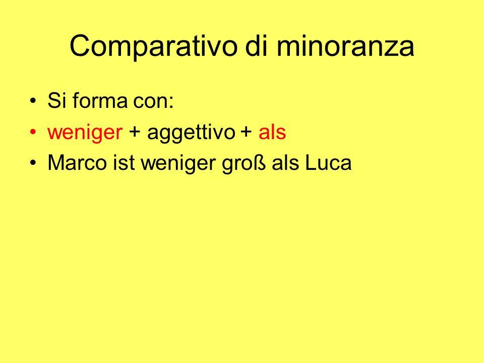 Comparativo di maggioranza Si forma con Aggettivo + er + als Gli aggettivi monosillabi con vocale a , o , u prendono anche l'Umlaut alt – älter jung – jünger lang - länger Marco ist größer als Luca