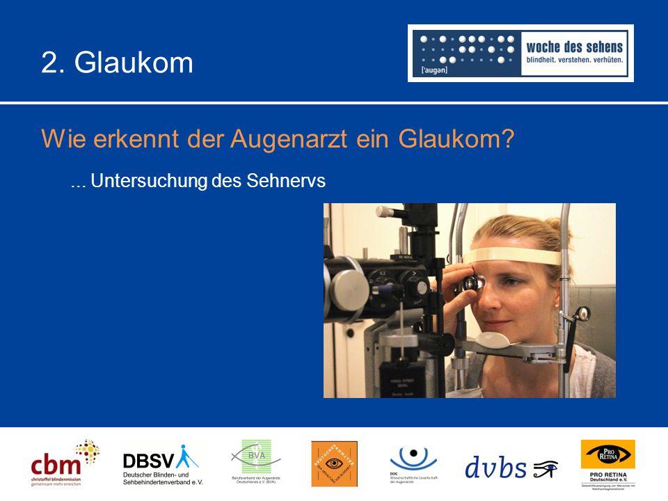 2. Glaukom Wie erkennt der Augenarzt ein Glaukom?... Untersuchung des Sehnervs
