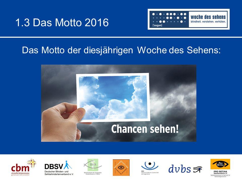 1.3 Das Motto 2016 Das Motto der diesjährigen Woche des Sehens: