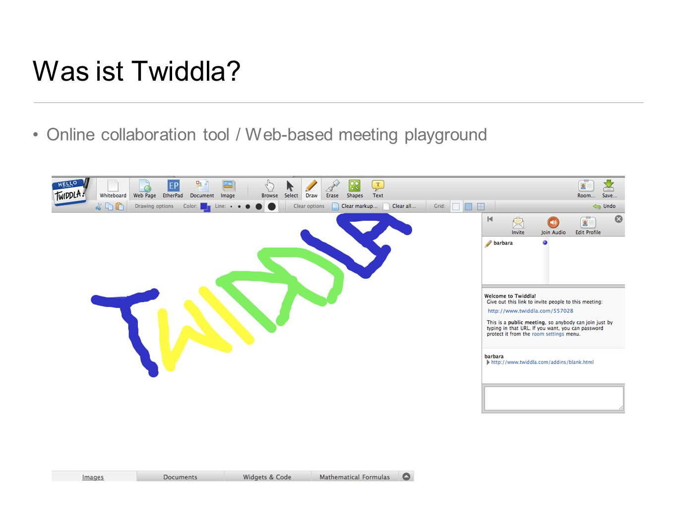 Online collaboration tool / Web-based meeting playground Was ist Twiddla