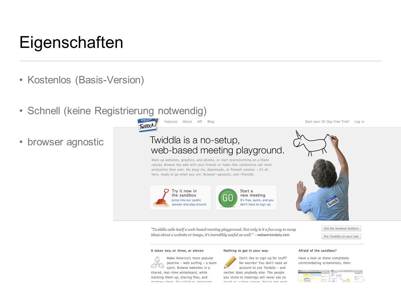 Eigenschaften Kostenlos (Basis-Version) Schnell (keine Registrierung notwendig) browser agnostic