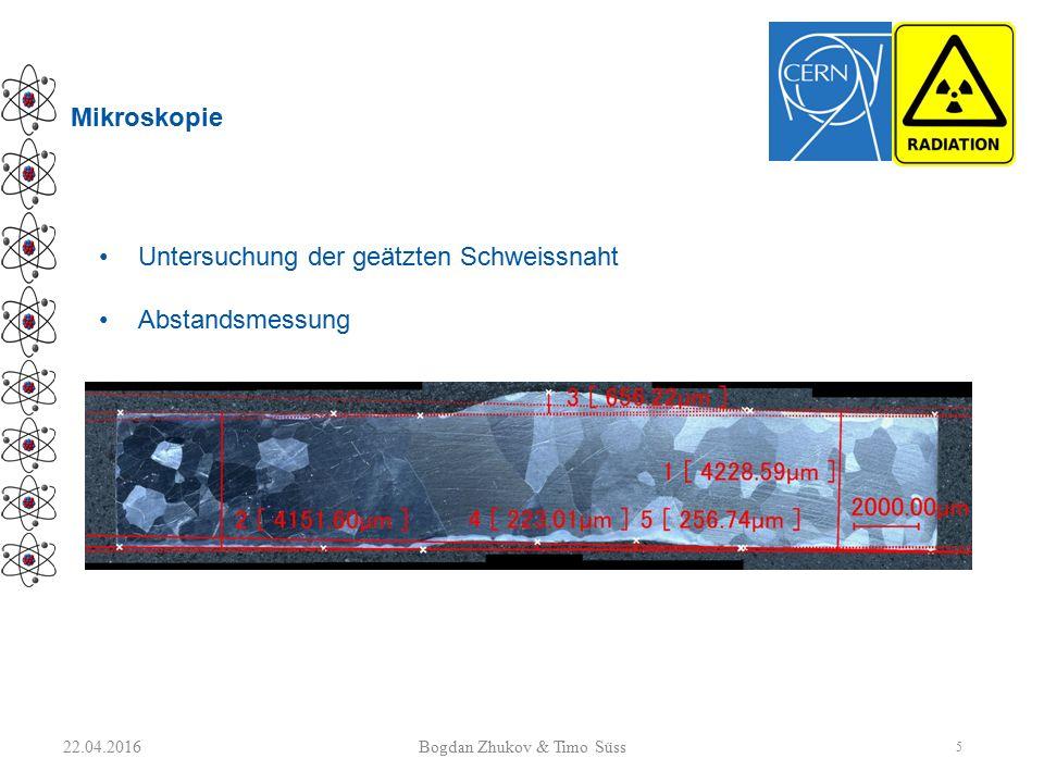 Mikroskopie 22.04.2016 5 Bogdan Zhukov & Timo Süss Untersuchung der geätzten Schweissnaht Abstandsmessung