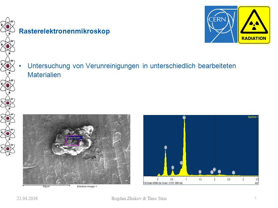 Rasterelektronenmikroskop Untersuchung von Verunreinigungen in unterschiedlich bearbeiteten Materialien 22.04.2016 7 Bogdan Zhukov & Timo Süss