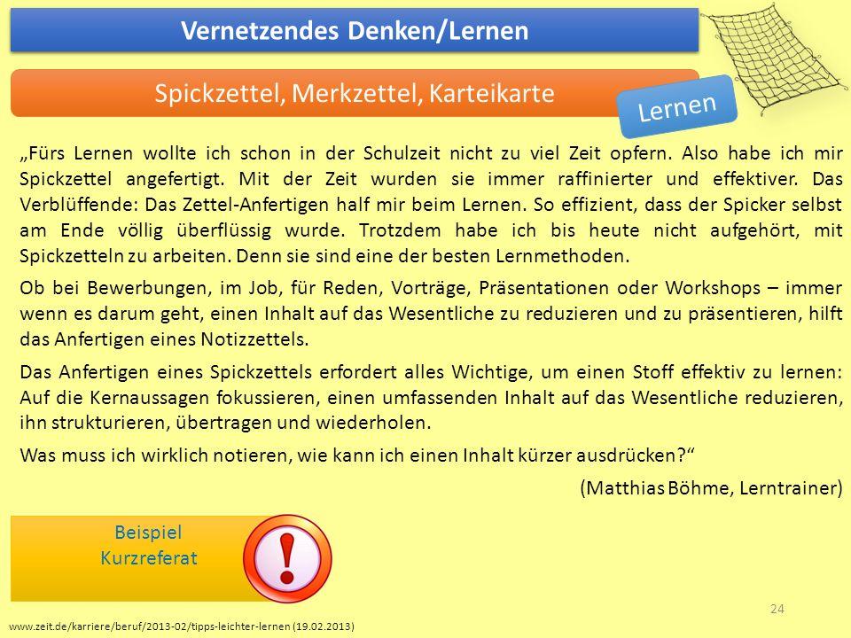 """www.zeit.de/karriere/beruf/2013-02/tipps-leichter-lernen (19.02.2013) Vernetzendes Denken/Lernen Spickzettel, Merkzettel, Karteikarte """"Fürs Lernen wol"""