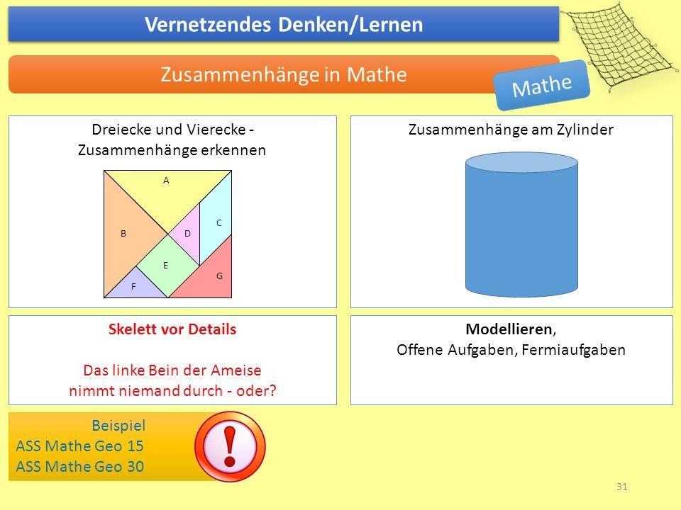 Vernetzendes Denken/Lernen Zusammenhänge in Mathe Beispiel ASS Mathe Geo 15 ASS Mathe Geo 30 Dreiecke und Vierecke - Zusammenhänge erkennen Zusammenhä