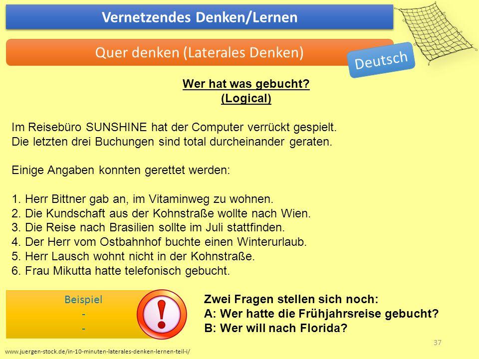 Vernetzendes Denken/Lernen Quer denken (Laterales Denken) Beispiel - www.juergen-stock.de/in-10-minuten-laterales-denken-lernen-teil-i/ Wer hat was ge