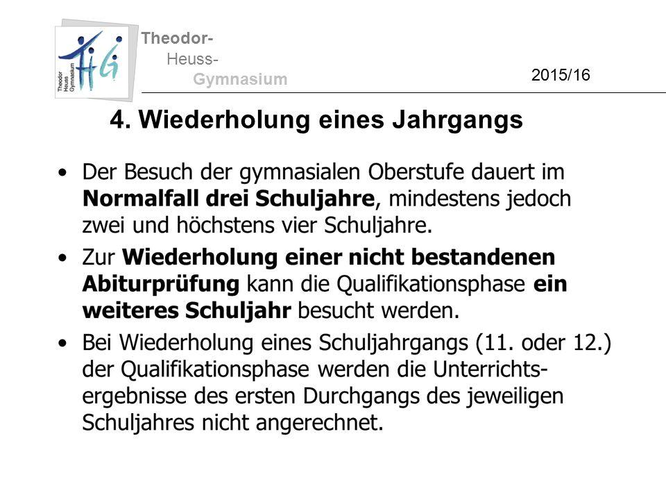 Theodor- Heuss- Gymnasium 2015/16 4. Wiederholung eines Jahrgangs
