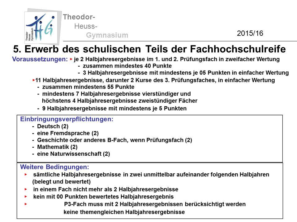 Theodor- Heuss- Gymnasium 2015/16 5. Erwerb des schulischen Teils der Fachhochschulreife
