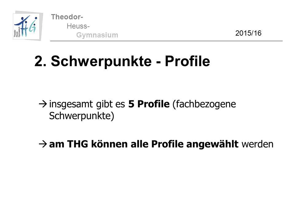 Theodor- Heuss- Gymnasium 2. Schwerpunkte - Profile 2015/16