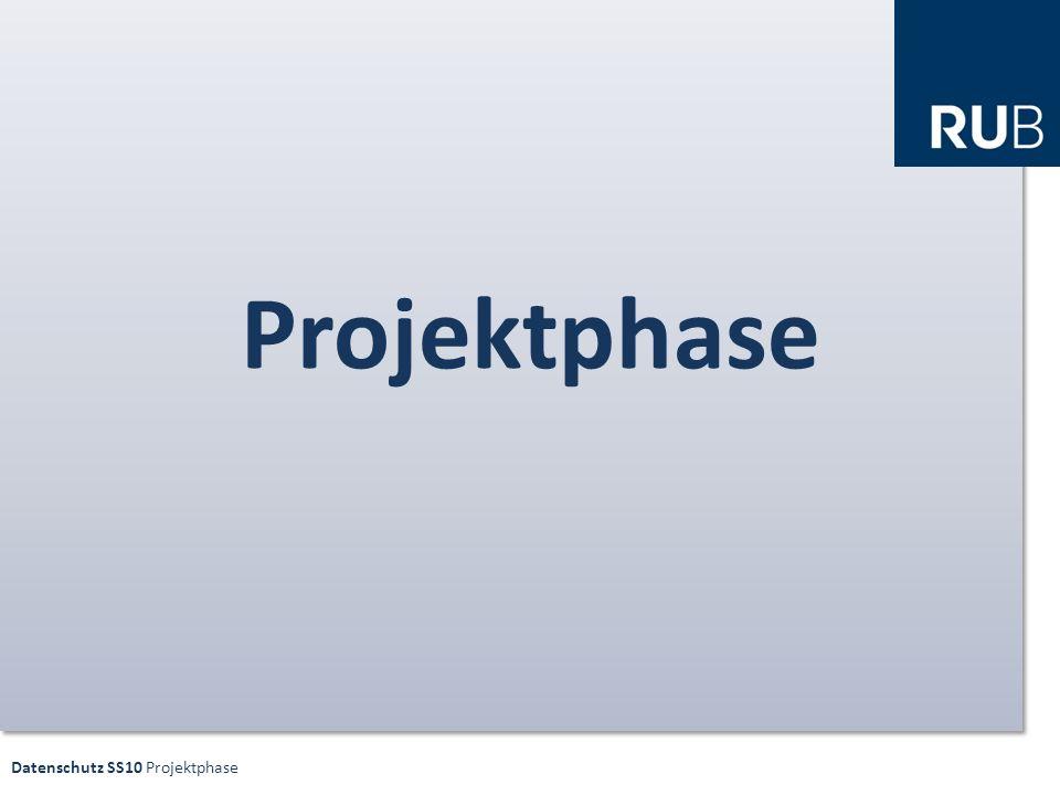 Datenschutz SS10 Projektphase ORGANISATORISCHES Gruppenarbeit Präsentation Bewertung