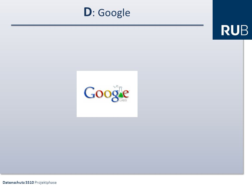 Datenschutz SS10 Projektphase D : Google